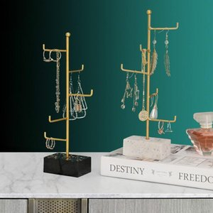 Nordic Resin Wooden Bottom Wrought Iron Jewelry Rack Bedroom Dressing Table Storage Hook Rack Home Creative Decor Ornaments 1pc