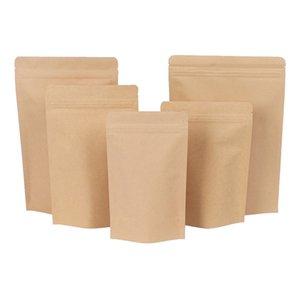 Zipper Brown Kraft aluminizing pouch,Stand up kraft paper aluminium foil bag Resealable Zip Lock Grip seal Food Grade HHC7217