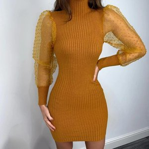 Dresses Vestidos Casual Sleeve Mesh Knitted Dress Women Spring Turtleneck Patchwork Party Polka Dot Print Ladies Sexy Puff Long