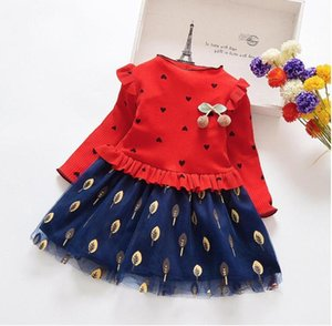 Girl's Dresses HE Hello Enjoy Girls Spring Autumn Long Sleeve Toddler Floral Dress Mesh Stitching Casual Children's Clothing