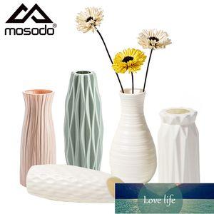 Mosodo Plastic Flower Vase Nordic Ceramic Vase Modern Plant Pots White Vases For Flowers Living room Home Decoration Accessories