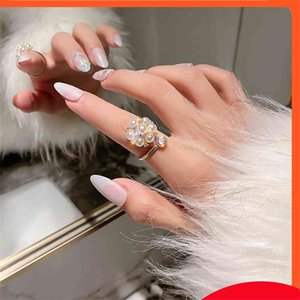 Pearl Diamond Открытие Указатель Указатель Палец Женская Меньшинство Дизайн Мода Корейский Версия Сеть Красный Крутый Ветер Кольцо