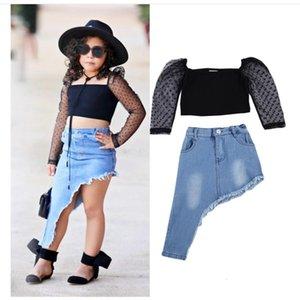 2021 Fashion Toddler Baby Kids Girl Clothes Set Black Polka Dot Lace Sleeve Crop Top+Irregular Long Denim Skirt Outfits Sets 2pcs