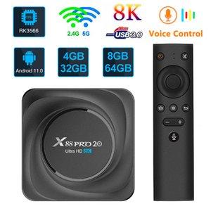 X88 Pro 20 RK3566 TV Box 8GB 64GB التحكم عن بعد الروبوت 11.0 رباعية النواة 8K HD 2.4G / 5 جيجا هرتز المزدوج باند واي فاي 3 جيجابايت 32 جيجابايت بلوتوث 4.2 TVBOM 4G32G