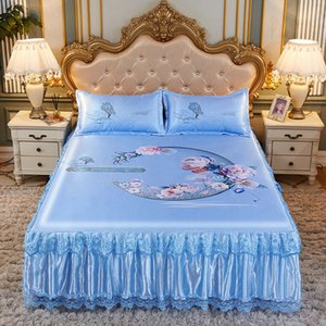 Bed Skirt Luxury Sheet With 3pcs Pillowcase Summer Ice Silk Chinese Style Pastoral ding Romantic Textile King Queen J8130 1HJF