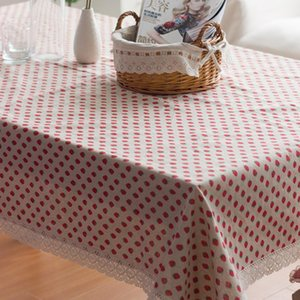 Table Cloth Household Multi-purpose Rural Style Strawberry Tablecloth Cotton And Linen Coffee Cover Towel Hollow Lace