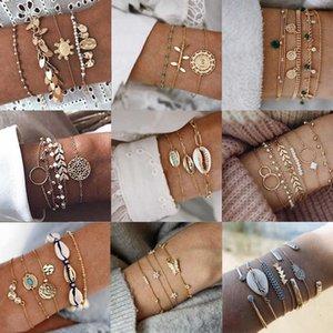 Tocona Boho Multilayer Adjustable Open Gold Bracelets for Women Retro Shell Claws Geometric Bracelet Femme Indian Sierades