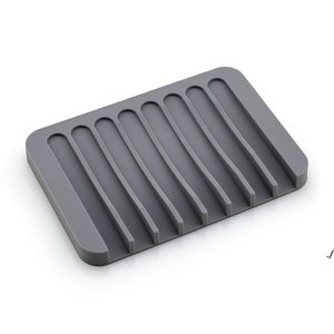 Fashion Silicone Soap Dishes Plate Holder Tray Drainer Shower Waterfal For Bathroom Kitchen Counter DWB6296
