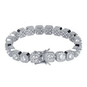 Trendy Men Bracelet Fashion Gold Silver Color Geometric Chain Bracelets Luxury Bling Zircon Flowers Hip Hop