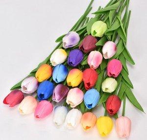 pink blue red flower PU mini tulip artificial wedding decoration silk flower home artificials plant Fashion furnishing articles
