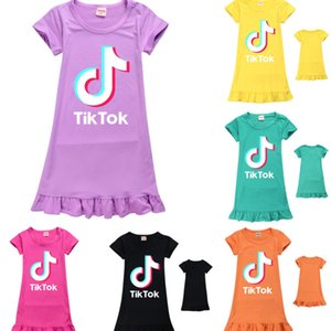 Tiktok Logo Letters Clothing Kids Girls Summer Dress Solid Color Short Sleeve Flare Flouncy Dresses Party Casual Princess Skirt Nightwear Overall One-piece G36WNNU