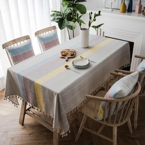 Modern Minimalist Rectangular Cotton Linen Tablecloth Dark Green Embroidered Plaid Fabric Fringed Living Room Table Home Decoration Cloth