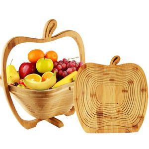 Neweco 친화적 인 접이식 대나무 과일 바구니 주방 홈 거실 룸 홈스테이 과일 스탠드 및 플레이트 EWF7914