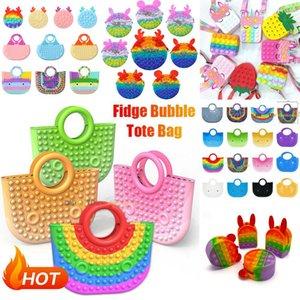 Fidget Toys Handbag Pencil Case Messenger Bag Coin Purse Decompression Toy Finger Silicone Rainbow Pendant Push Bubble Fashion Handbags Party Simple Dimple Relief