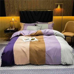 Multi Color Vertical Striped Patchwork Duvet Cover 100%Cotton Ultra Soft Twin Queen King size Bedding Set Fitted Flat Sheet