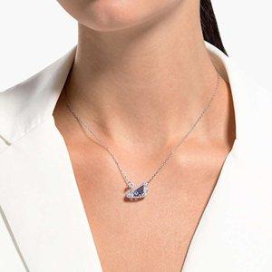 NeckLaceshijia Smart Swan Necklace Moda Mujer Baile Elegante Azul Blanco Cadena de clavícula Colgante