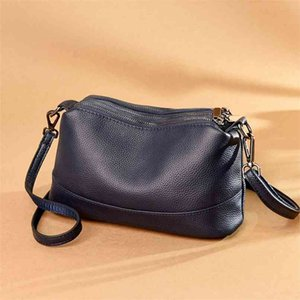 Genuine Leather Real Cowhide Women Leisure Fashion Bag Women's Messenger Shoulder Cross Handbag 210908