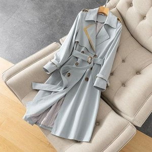 Trench coat for women Autumn Winter Elegant Women Double Breasted Solid cloak female Korean style high-end Trench with Belt 89ft#