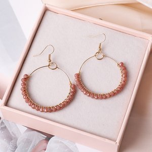 Bohemian Round Circle Beads Earrings Fashion Handmade Gold Color Big Circle Earing For Women Party Wedding Holiday Jewelry 107 M2