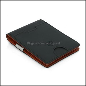 Clips Jewelrygenuine Leather Money Clip For Men Slim Front Pocket Rfid Blocking Card Id Holder Minimalist Bifold Wallet Drop Delivery 2021 R