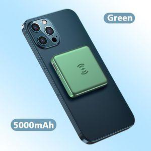 도매 미니 휴대용 5000mAh 전원 은행 마그네틱 무선 충전기 10W 모바일 PowerBank extenal 배터리 빠른 충전 iphone12 프로 최대 4 색