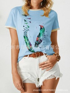 summer printed 2021 new women's spring short and sleeve o-neck Pullover casual T-shirt
