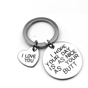Stainless Steel Keychain Heart Key Chain Rings Holder for Lovers Couples I LOVE YOU Round Letters Pendant Keyring Jewelry Accessory 628 K2