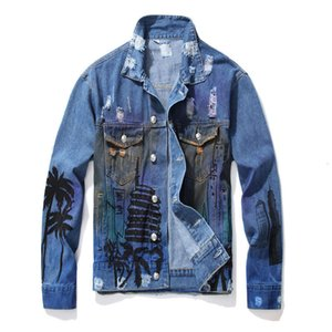New Men's Male Casual Loose Coconut Palm Printed Jean Jacket Fashion Holes Ripped Denim Coat Letters Painted Outerwear