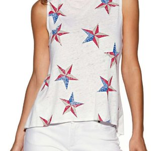 Simple Womens Tees United States Stars Printed Tshirts Casual Sleeveless Tops Summer Female Crew Neck Tees