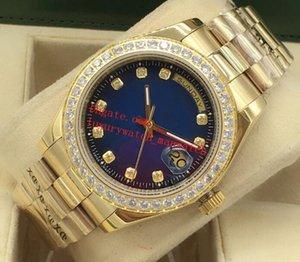 Lüks Erkek Saatler 41mm Mekanik İzle Elmas Arama Otomatik Kırmızı Mavi Siyah 18 K Sarı Altın Çelik Bilezik Moda Saatı