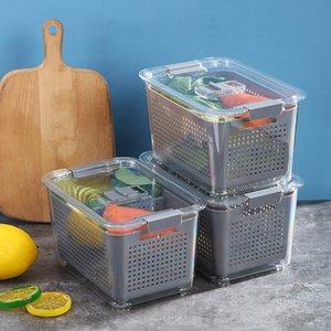Multifunctional Food Storage Box Sets Plastic Wash Fruit And Vegetable Drain Basket Kitchen Baskets Refrigerator Foods Preservation Boxes ZYY1043