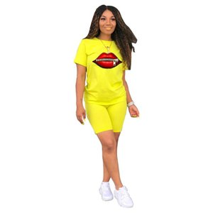 Sweatsuits Women Clothing Sets Summer 2021 Fashion Zipper And Lips Print Tracksuit Outfits Stretch Bodycon Two Piece Short Set Women's Track