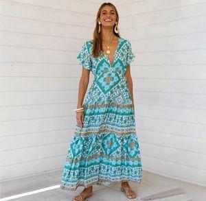 Sexy Printed Summer Maxi Dress Deep V Neck Short Sleeve Vintage Vestido Beach Boho Casual Clothes Long Women Dresses 2021