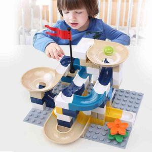 Marble Race Run Block Big Size Compatible Duploed Building Blocks Plastic Funnel Slide DIY Assembly Bricks Toys For Children 1008