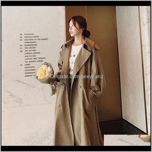 Outerwear & Coats Womens Apparel Drop Delivery 2021 Extra Loose Large Size Long Trench Coat For Women Fashion Casual Autumn Clothing Solid Wi