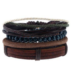 Rope Leather Handmade Braided Multilayer Wooden Beads Charm Bracelets Retro Set For Men Punk Adjustable Bangle Party Jewelry