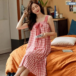 Summer Nightdress Women Cotton Sleepwears Nightgown PlaidCotton Loose Spaghetti Strap Sleeveless Nightie Sleepwear Homewear
