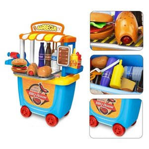Pretend Play Toy Set BBQ Ice Cream Cart Shop Small Market House Children Home Simulation Mini Trolley Car Kids Toys