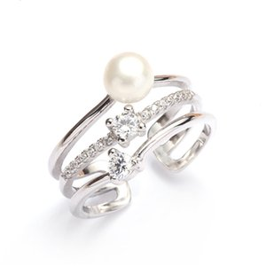 S925 Sterling Silver Pearl Irregular Opening Ring Settings Female Diy Accessories Mountings For Women