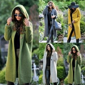 2020 Winter Women knit Cardigan Hooded Coat Sweater Coat Lady Solid Color Thick Soft Fashion Jacket knit Long Cardigan1