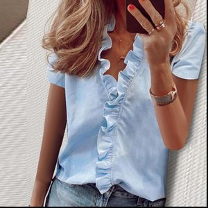 Women Summer V Blouses neck Blouse Elegant Pineapple Print Shirts Office Lady Ladies Sexy Short Sleeve