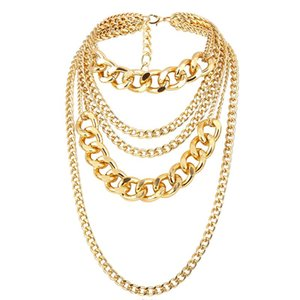 Punk Exaggerated Big Layered Thick Cuban Link Chain Choker Necklace Women Fashion Hippie Modern Night Club Jewelry Gifts Chains