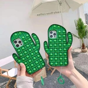 Push Bubble Fidget Decompression Cactus Toy Cases Silicone Phone Cover For 12 11 Pro Xs Max XR 8 Plus styles Reliver Stress