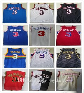 Высочайшее качество сшитые сетки Урожай моды Мужчины ALLEN3 Иверсосон майки синий белый красный черный баскетбол рубашка быстрая доставка размер S-2XL
