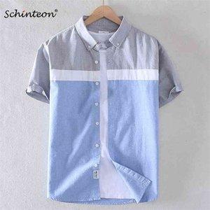 Schinteon Erkekler Yaz 100% Pamuk Gömlek Oxford Kısa Kollu Akıllı Rahat Ince Patchwork Gömlek Turn-down Yaka Yeni 210410