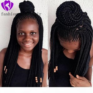 Long Braided Lace Front Wigs Black Color Box Braids With Baby Hair Glueless Synthetic Lace Front Wigs for Black Women