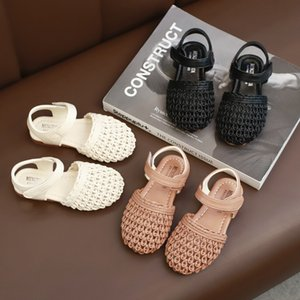 Girls Sandals 2021 Summer New Fashion Childrens Knitted Beach Shoes Korean Soft Bottom Kids Baby Baotou Shoes GSS27
