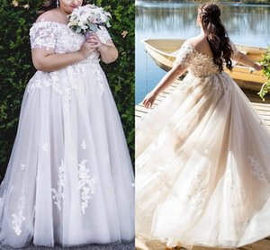 Plus Size A-Line Wedding Dresses Off the Shoulder Bridal Gowns with Short Sleeves Crystals Sash Applique Lace Custom Made