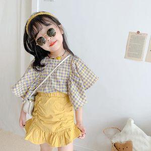 Korean Girl's Clothing, Children's Summer New Product, Flying Ruffle Plaid Baby Shirt, Short Sleeve Fishtail