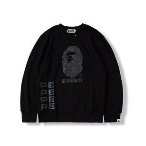 Herren Hoodie 20s Jahre Herbst und Winter Gezeiten Marke Stil APE Head Reflektierende Farbe Pullover Runde Kragen Pullover L6ks